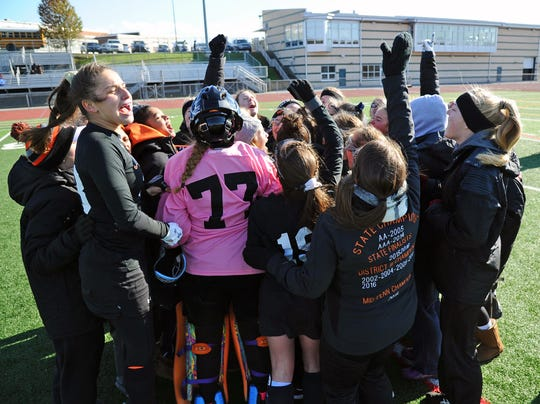 Celebrations like this one last Saturday after a state quarterfinal win over Villa Maria have been common for the Palmyra field hockey team over the years, but the program has always been about much more than wins and losses.