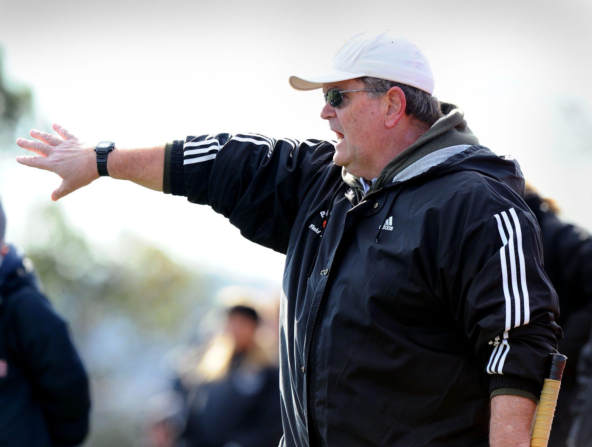 Palmyra coach Kent Harshman watches his team in OT.