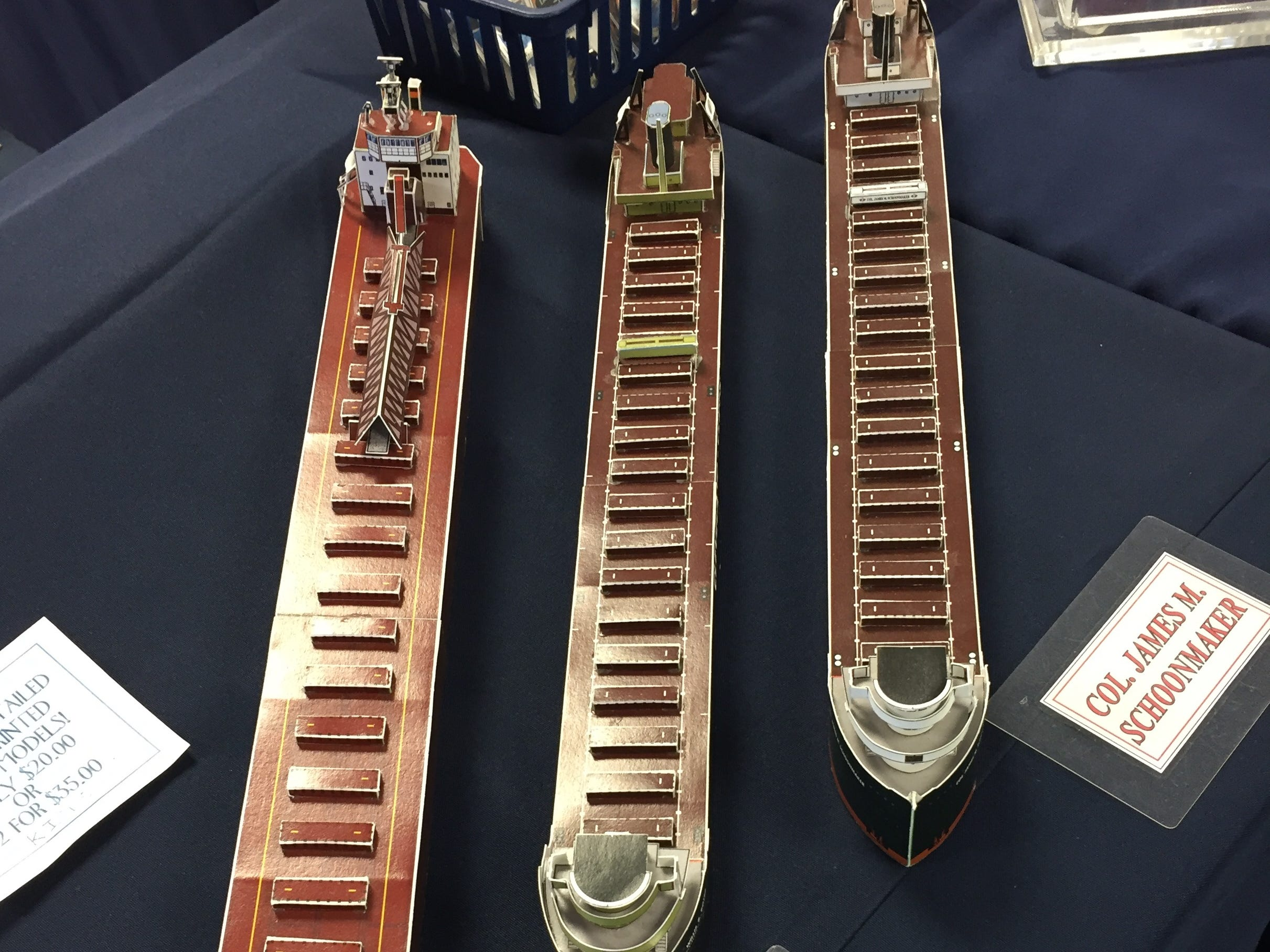 Bob May was selling paper models of Great Lakes freighters at the Boats and Books sale on Saturday, Nov. 10, 2018 at the Great Lakes Maritime Center in Port Huron.
