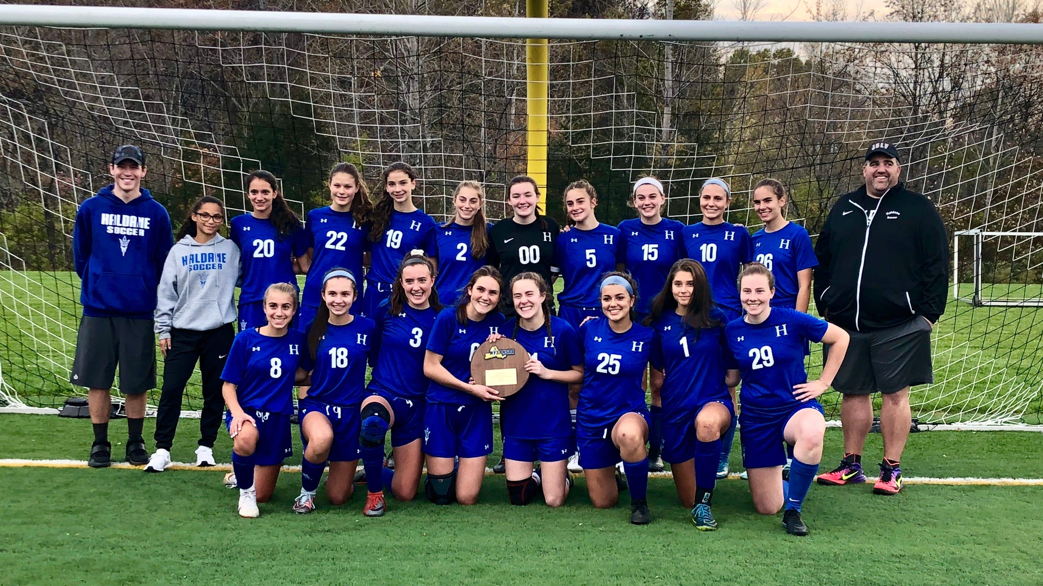 The Haldane girls soccer team poses after winning the Class C regional title on Oct. 31.