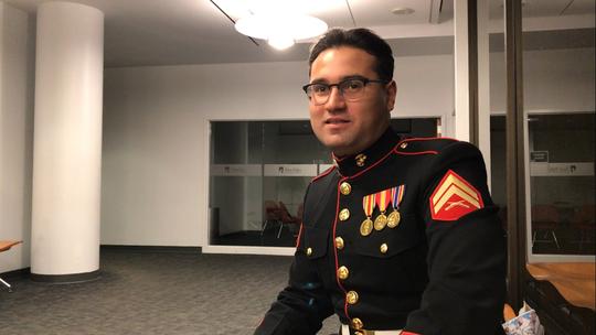 U.S. Marine Corps Reserve Corporal Daniel Oles is a SUNY New Paltz senior.