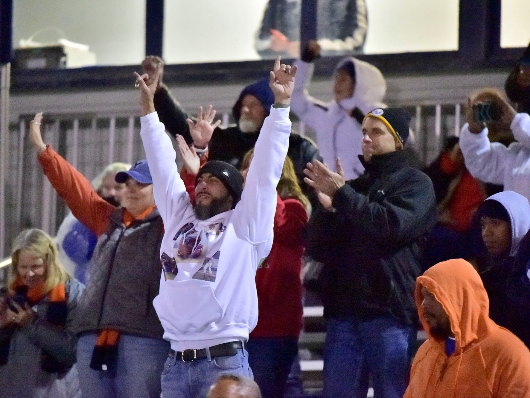 York High fans celebrate. York High defeated Shippensburg 22-6  in the the quarterfinals of PIAA 5A District 3 football playoffs on Friday, Nov. 9, 2018 at Trojan Stadium.