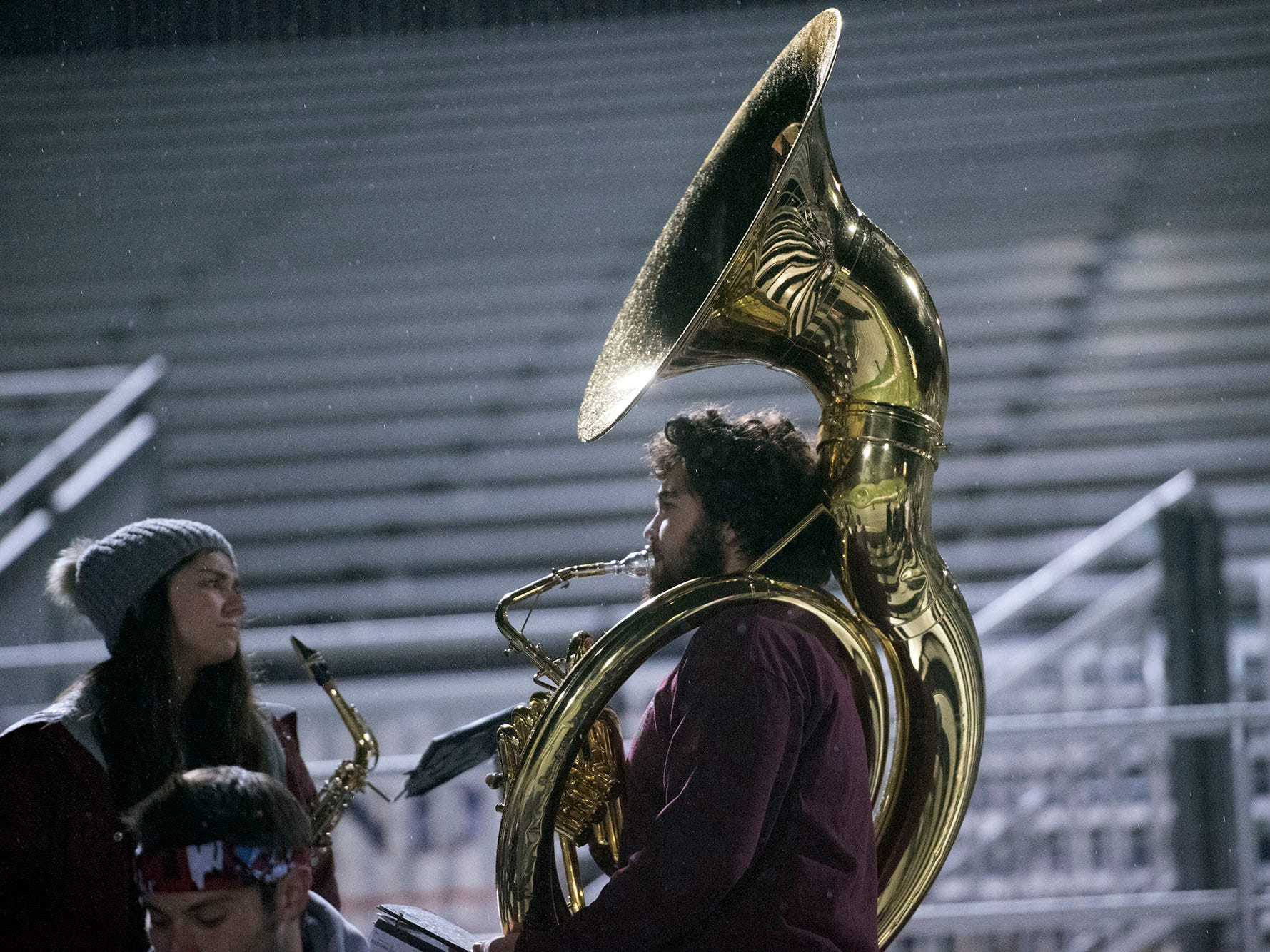 Shippensburg band members tune-up before the game. York High defeated Shippensburg 22-6  in the the quarterfinals of PIAA 5A District 3 football playoffs on Friday, Nov. 9, 2018 at Trojan Stadium.