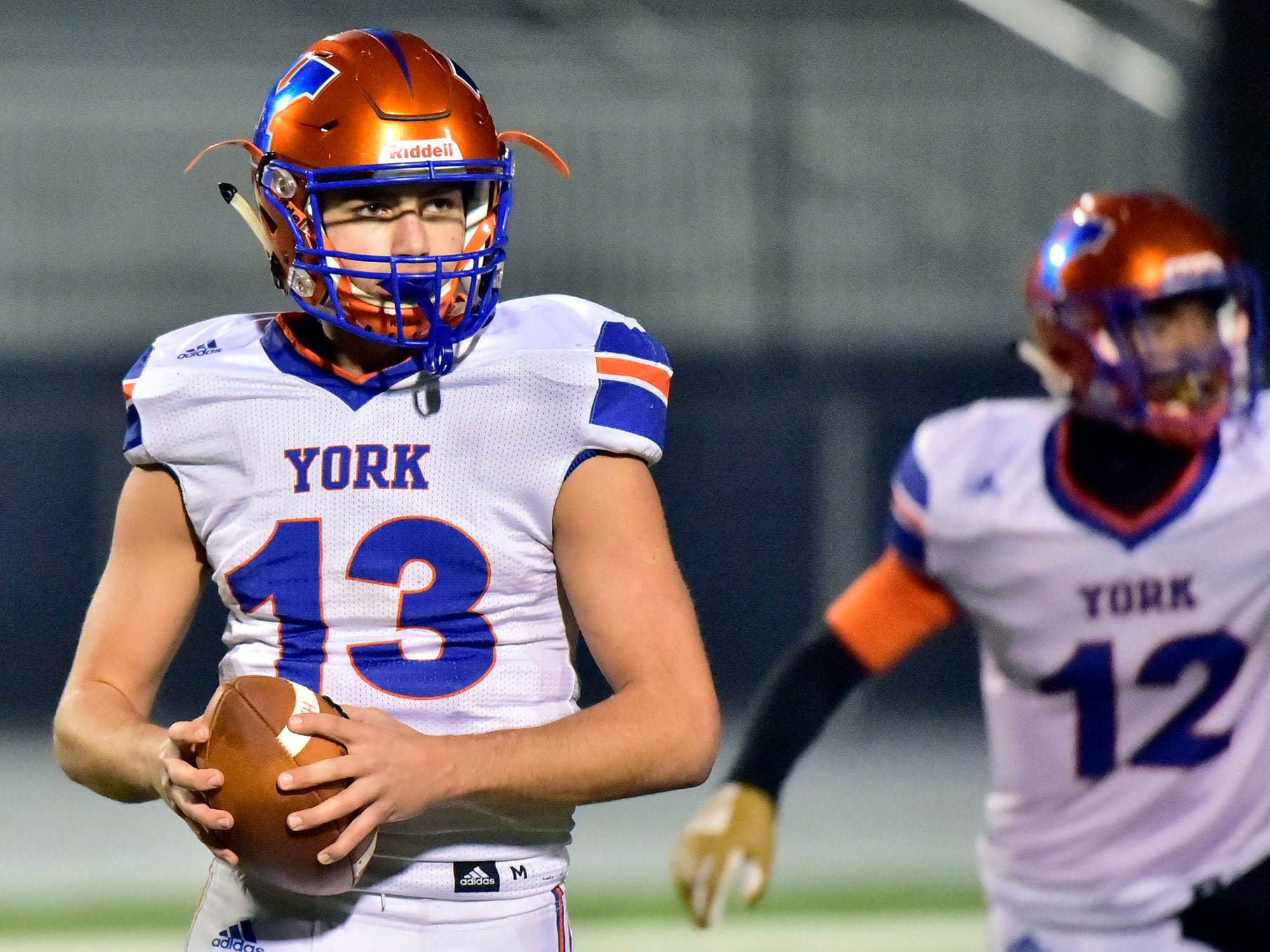 York High's Seth Bernstein closes out a game against Shippensburg. York High defeated Shippensburg 22-6  in the the quarterfinals of PIAA 5A District 3 football playoffs on Friday, Nov. 9, 2018 at Trojan Stadium.