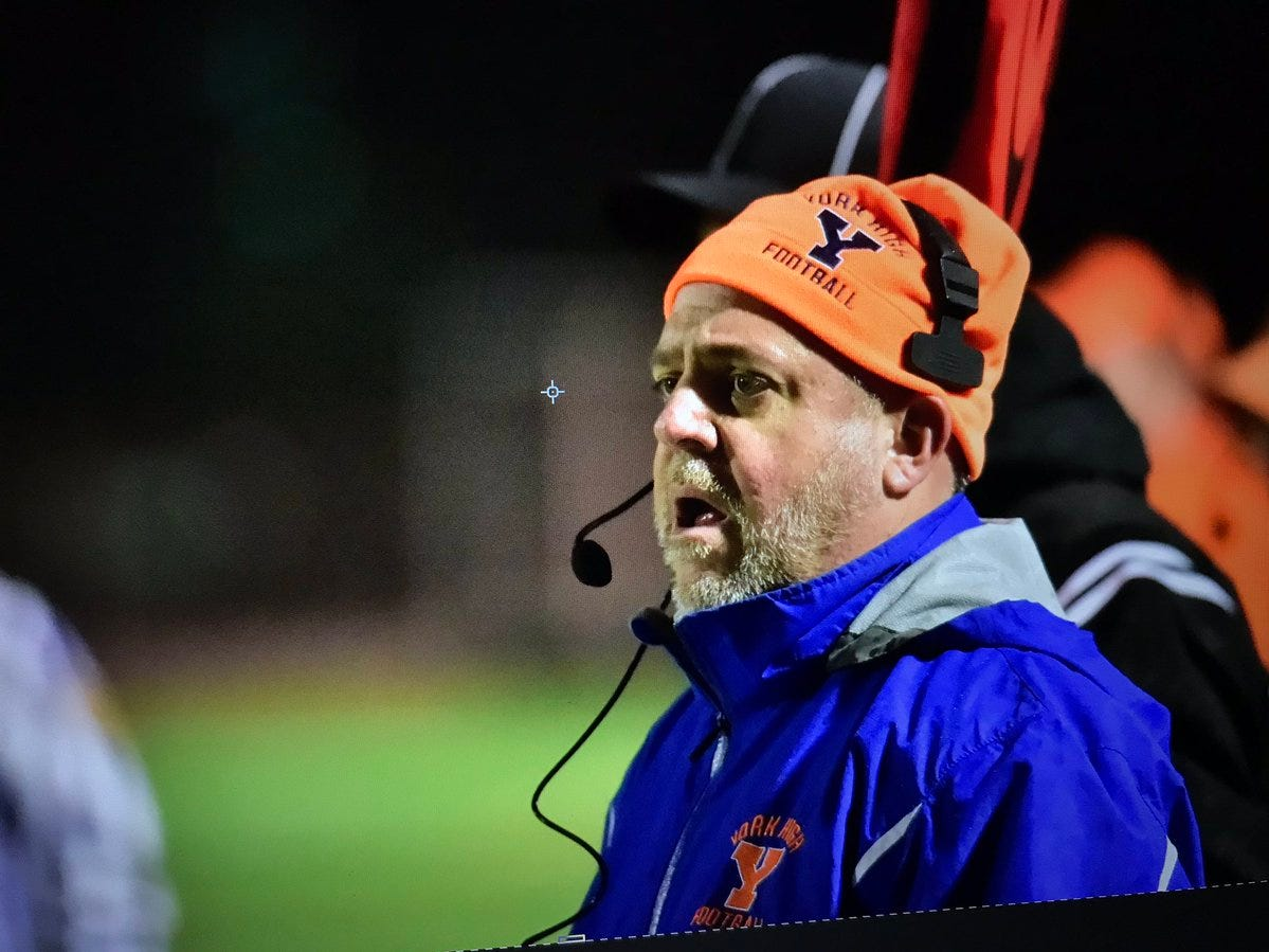 York High coach Russ Stoner follows the action in Friday night's game against Shippensburg.