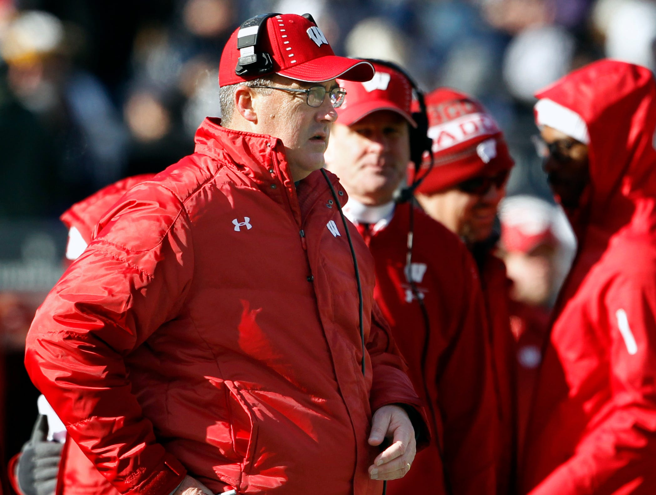 Wisconsin head coach Paul Chryst stands on the sidelines as the team takes on Penn State during the first half of an NCAA college football game in State College, Pa., Saturday, Nov. 10, 2018.