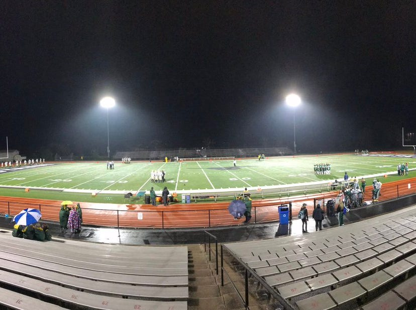 Panoramic view of South Western's Mustang Field, where York Catholic and Delone Catholic played for the District 3 Class 2A title Friday night.