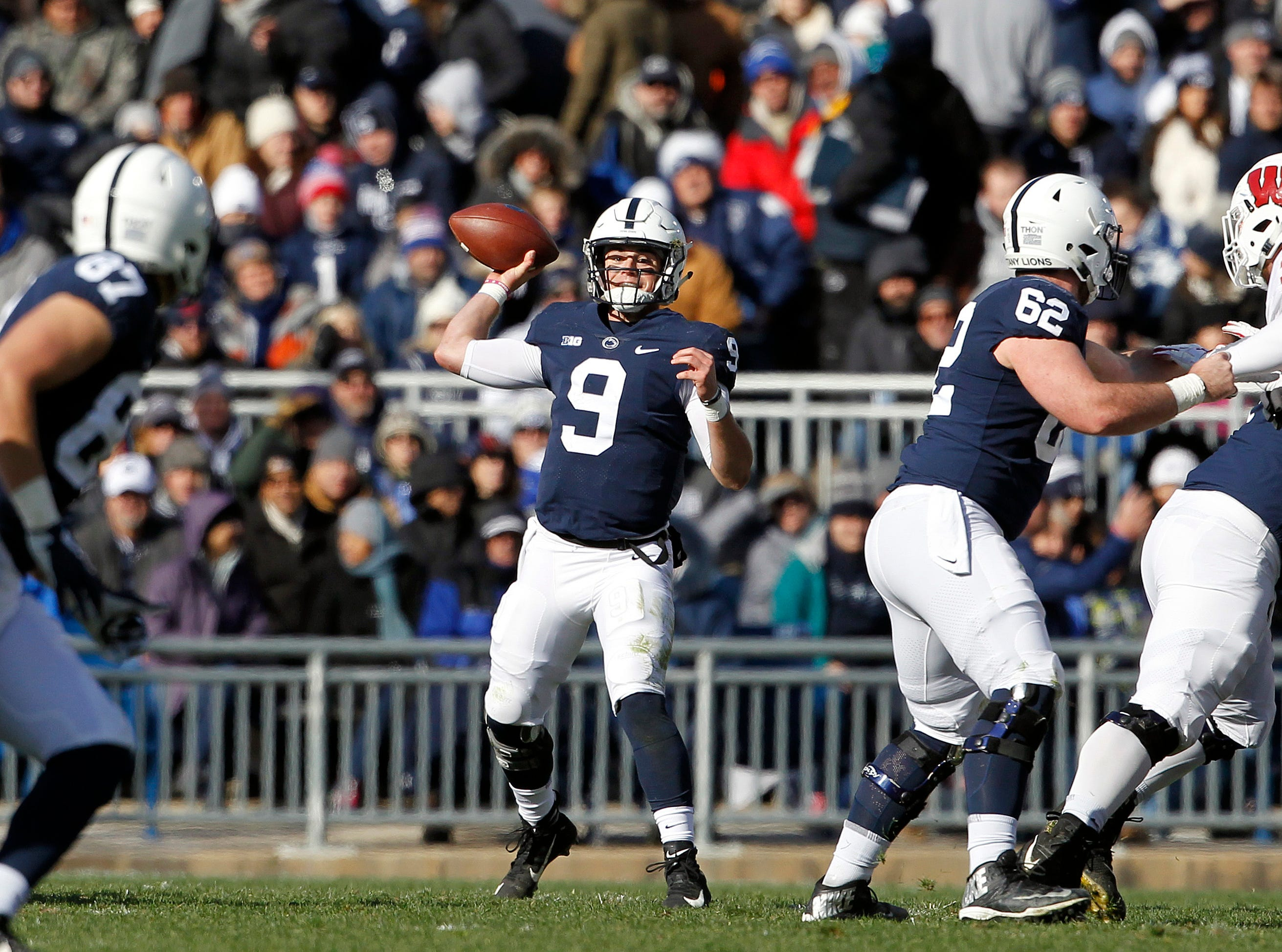 Penn State quarterback Trace McSorley (9) throws a pass against Wisconsin during the first half of an NCAA college football game in State College, Pa., Saturday, Nov. 10, 2018.