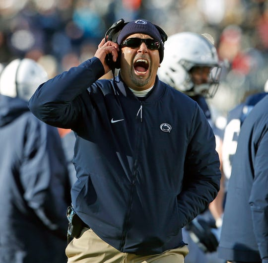 Penn State head coach James Franklin, yells at the referee during a timeout against Wisconsin in the second half of an NCAA college football game in State College, Pa., Saturday, Nov. 10, 2018. Penn State won 22-10.