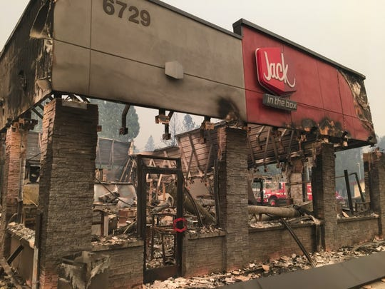 A Jack in the Box restaurant was among the Camp Fire destruction in Paradise, Calif., on Nov. 10, 2018.