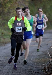 Gavin Bathgate from East Rochester, runs the boys Class D race during the 2018 NYSPHSAA Cross Country Championships at Sunken Meadow State Park in Kings Park on Nov. 10, 2018.