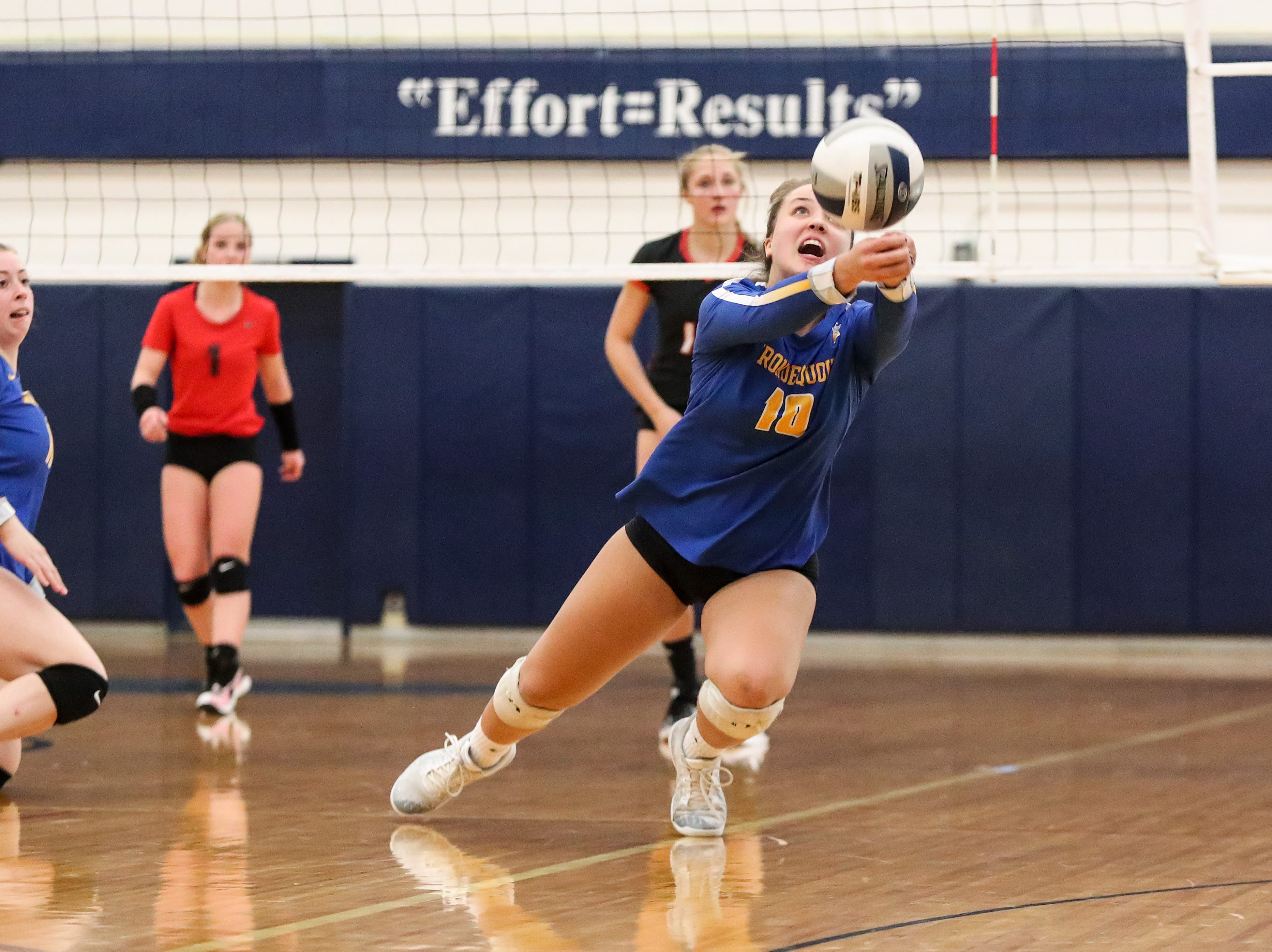 Irondequoit Eagles Emma Sheehan (10) saves the ball from going out of bounds against the Niagara-Wheatfield Falcons during a NYSPHSAA Class A West Regional high school girls volleyball match at Webster Thomas on Nov. 9, 2018.