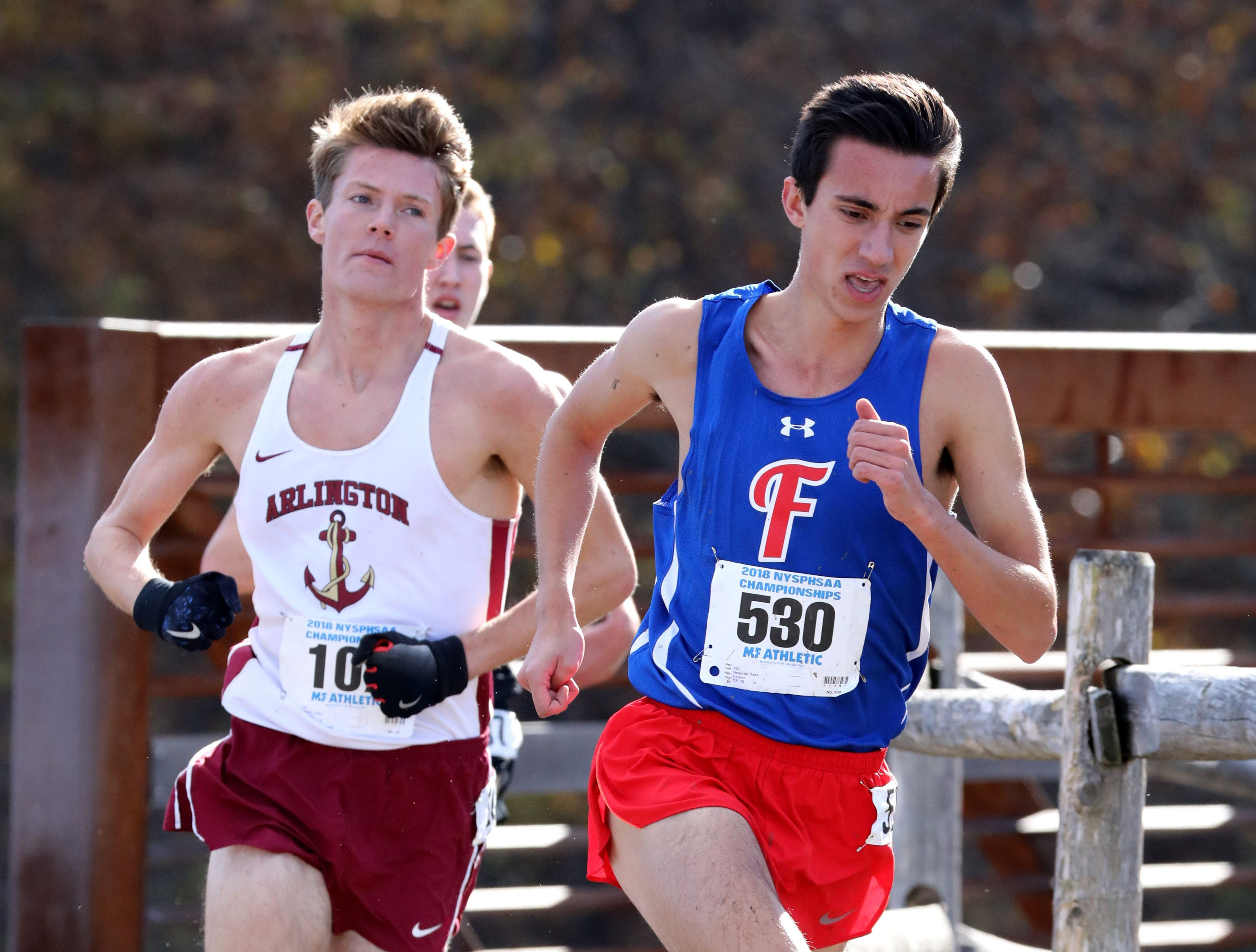 Sean Henretta from Fairport, runs the boys Class A race during the 2018 NYSPHSAA Cross Country Championships at Sunken Meadow State Park in Kings Park on Nov. 10, 2018.