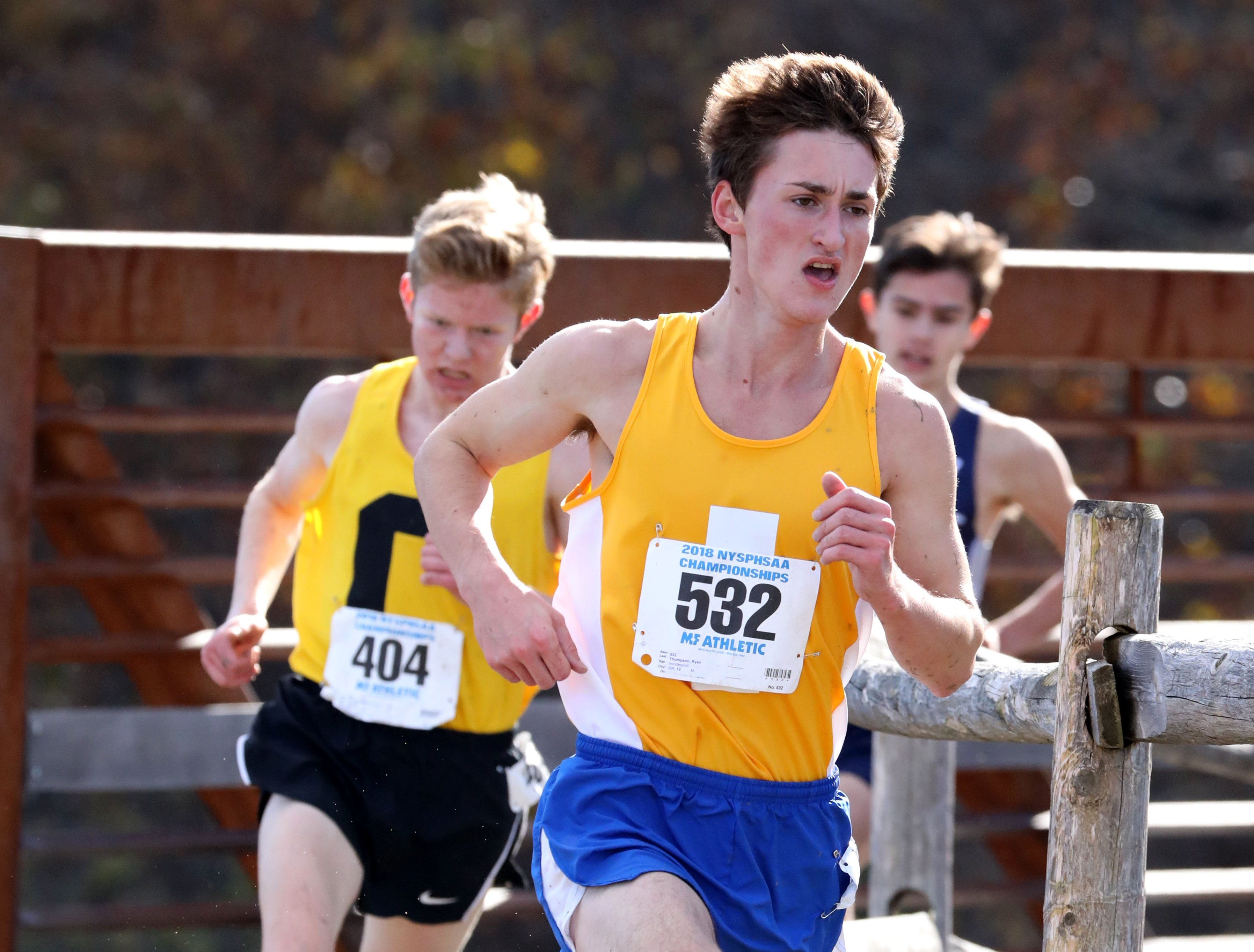 Ryan Thompson from Irondequoit, runs the boys Class A race during the 2018 NYSPHSAA Cross Country Championships at Sunken Meadow State Park in Kings Park on Nov. 10, 2018.