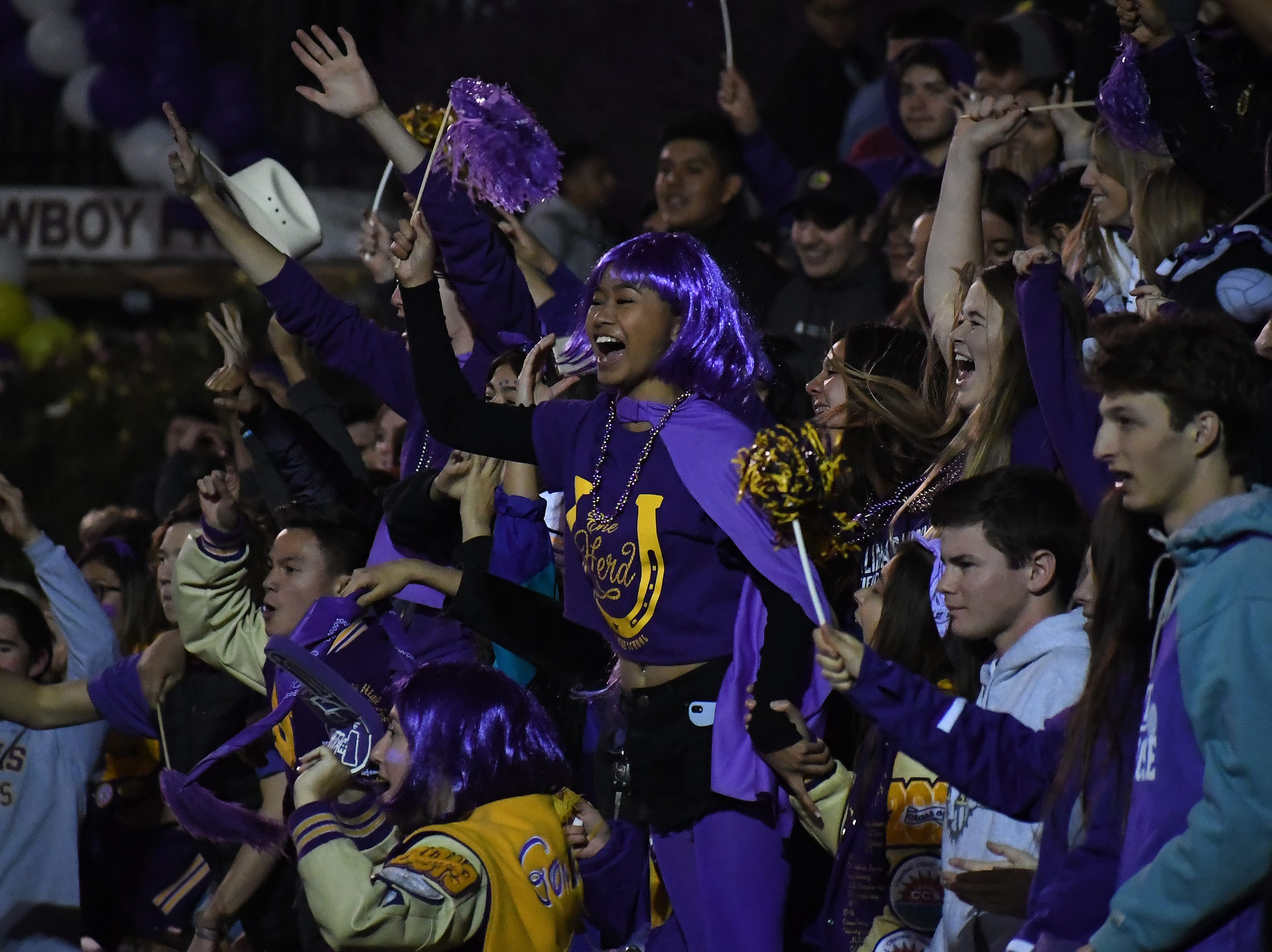The Salinas student section reacts to a touchdown by Poe Gaskins.