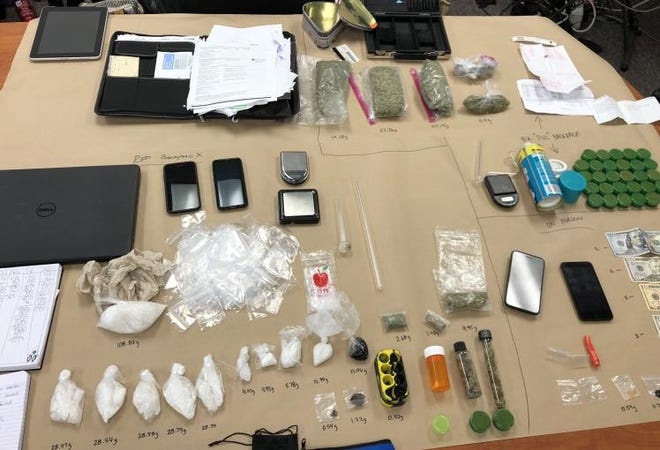 Authorities say they found these drugs and paraphernalia in a raid that also ended with the arrest of Arnulfo Picazo, 37, of Salinas.