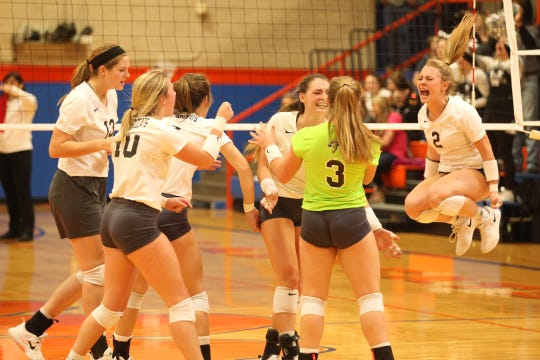 The Water Valley High School volleyball team celebrates winning a point during the Region I-1A finals against defending state champion Bronte at Central's Babe Didrikson Gym on Saturday, Nov. 10, 2018. Water Valley won in four sets to advance to state for the first time since 2011.