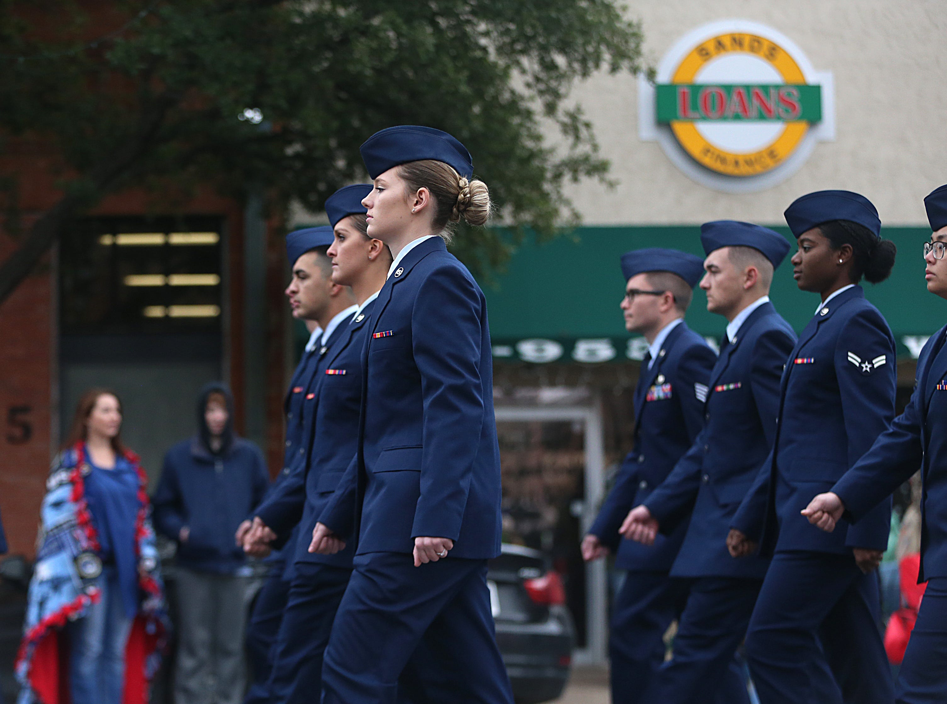 "A Goodfellow Air Force detachment marches in downtown San Angelo Saturday, Nov. 10, 2018, during the 15th annual Veterans Day Parade, themed ""Honoring faithful freedom defenders."""