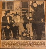 A clipping from the Standard-Times archives shows the State Commander of the American Legion congratulating the new commander of San Angelo's Smith-Bryant Post 572 in 1952.