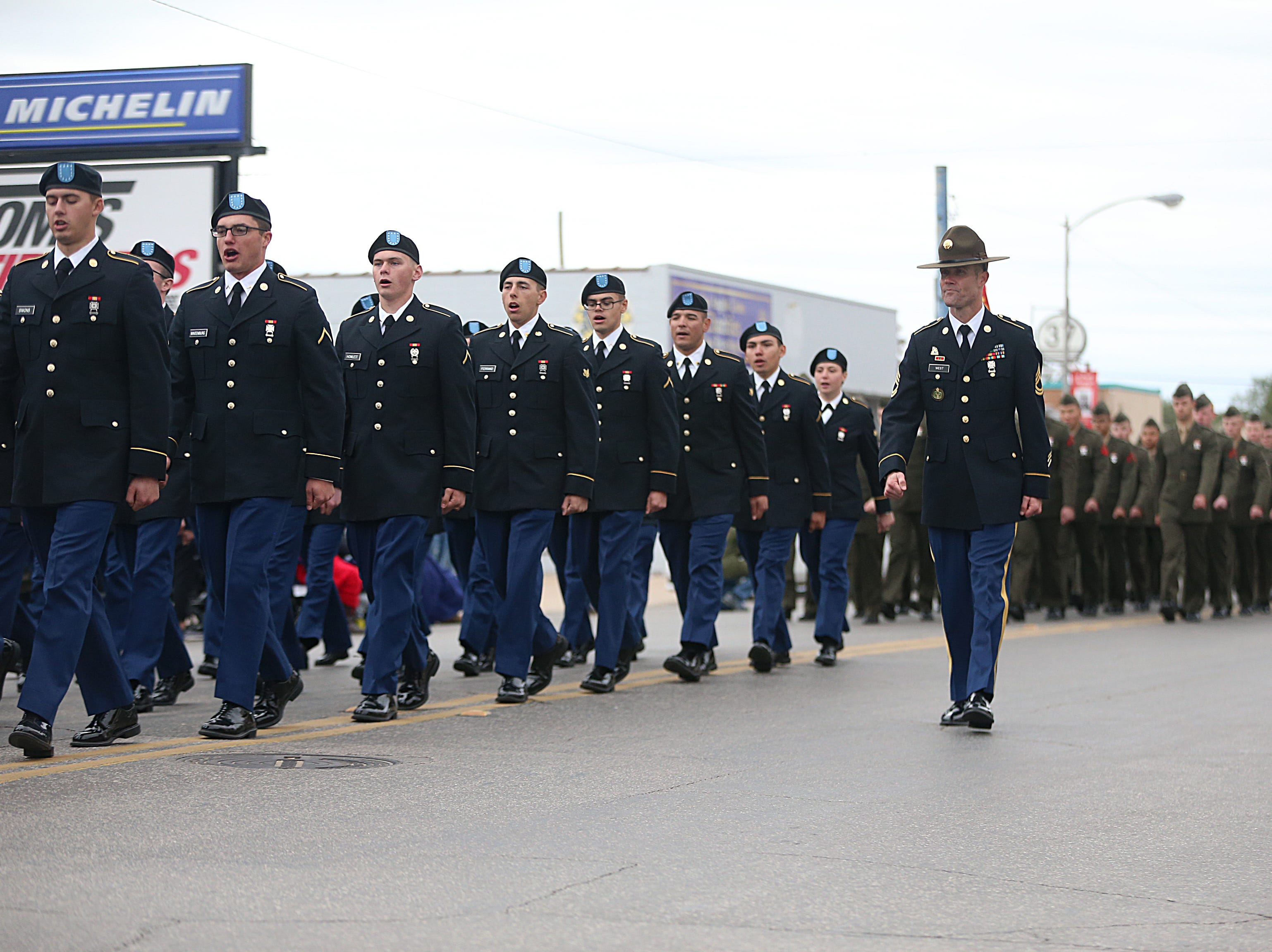 "Goodfellow Air Force's Army detachment march in downtown San Angelo Saturday, Nov. 10, 2018, during the 15th annual Veterans Day Parade, themed ""Honoring faithful freedom defenders."""