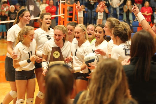 The Water Valley High School volleyball team celebrates beating defending state champion Bronte in the Region I-IA championship at Central's Babe Didrikson Gym on Saturday, Nov. 10, 2018. The Lady Wildcats are headed to state for the first time in seven years.