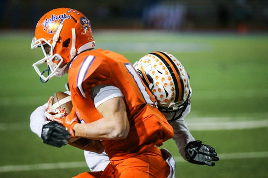 San Angelo Central wide receiver Tanner Dabbert had four touchdown catches in the Bobcats' 34-31 win over Fort Worth Haltom on Friday, Nov. 8, 2019.