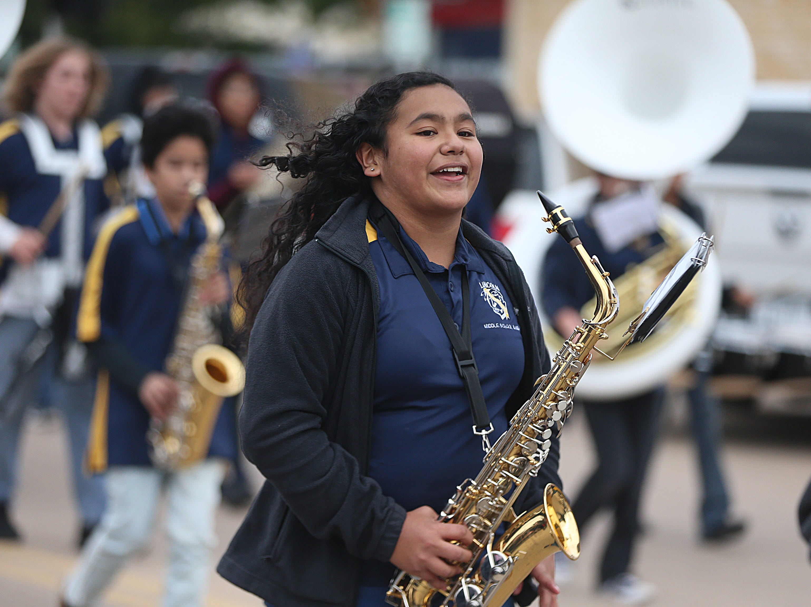 "Lincoln Middle School band marches downtown Saturday, Nov. 10, 2018, during the 15th annual Veterans Day Parade, themed ""Honoring faithful freedom defenders."""
