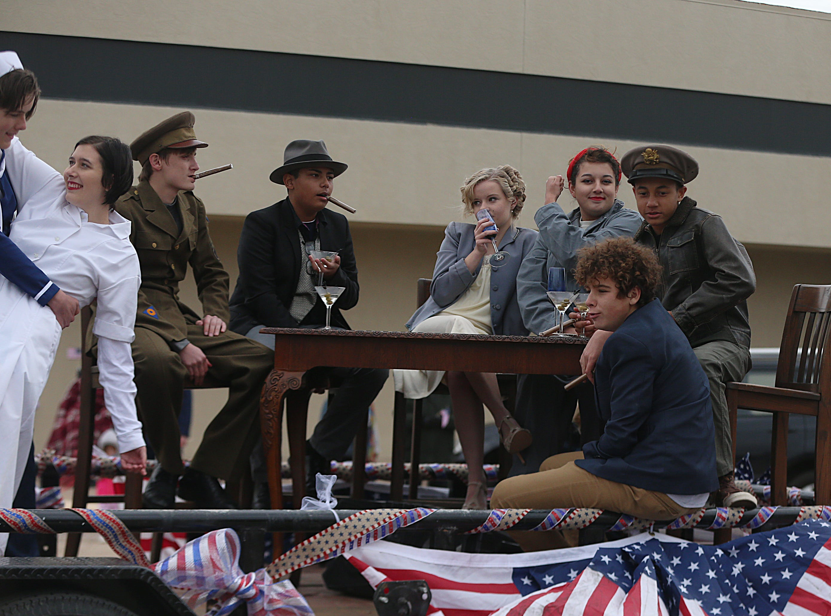 "Students from Ambleside School of San Angelo dress in 1940s attire Saturday, Nov. 10, 2018, during the 15th annual Veterans Day Parade, themed ""Honoring faithful freedom defenders."""