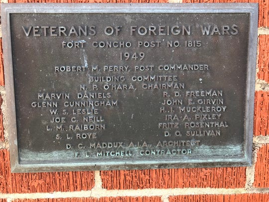 Plaque commemorating the building of VFW Post 1815 in 1949.