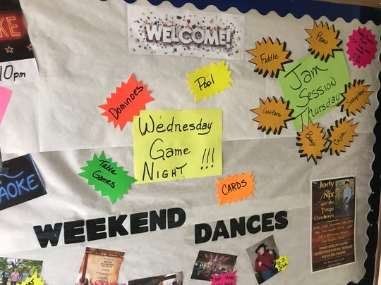 The bulletin board at the VFW Hall in San Angelo highlights this month's events.