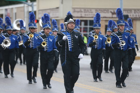 "Lake View High School band march downtown Saturday, Nov. 10, 2018, during the 15th annual Veterans Day Parade, themed ""Honoring faithful freedom defenders."""