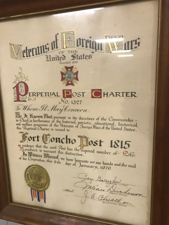 VFW Post 1815 received its perpetual charter in 1970, 40 years after it was established.