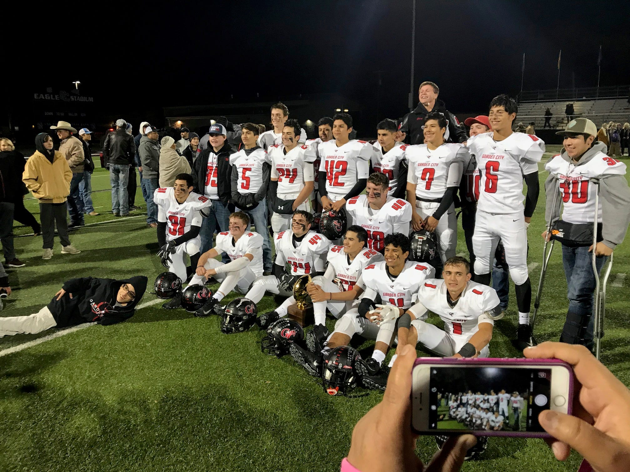 The Garden City Bearkats pose for a team photo after beating Sterling City 38-34 Friday, Nov. 9, 2018.