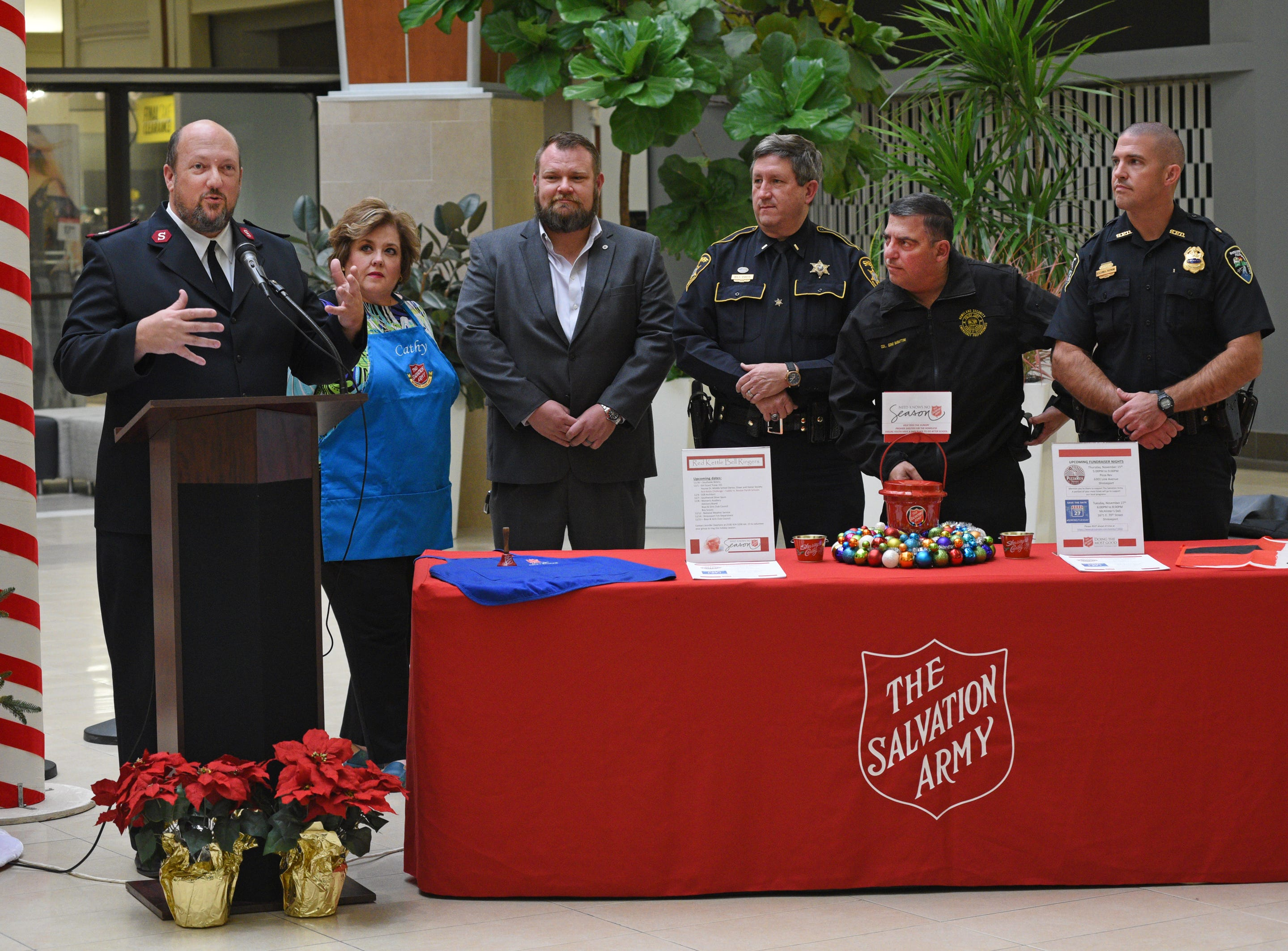 Maj. Ray Morton speaks at the Salvation Army Angel Tree and Red Kettle Campaign 2018 Holiday Kick-off at Bossier City's Pierre Bossier Mall.