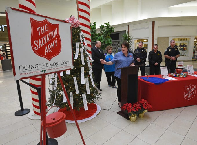 Jennifer Stephens speaks at the Salvation Army Angel Tree and Red Kettle Campaign 2018 Holiday Kick-off at Bossier City's Pierre Bossier Mall.