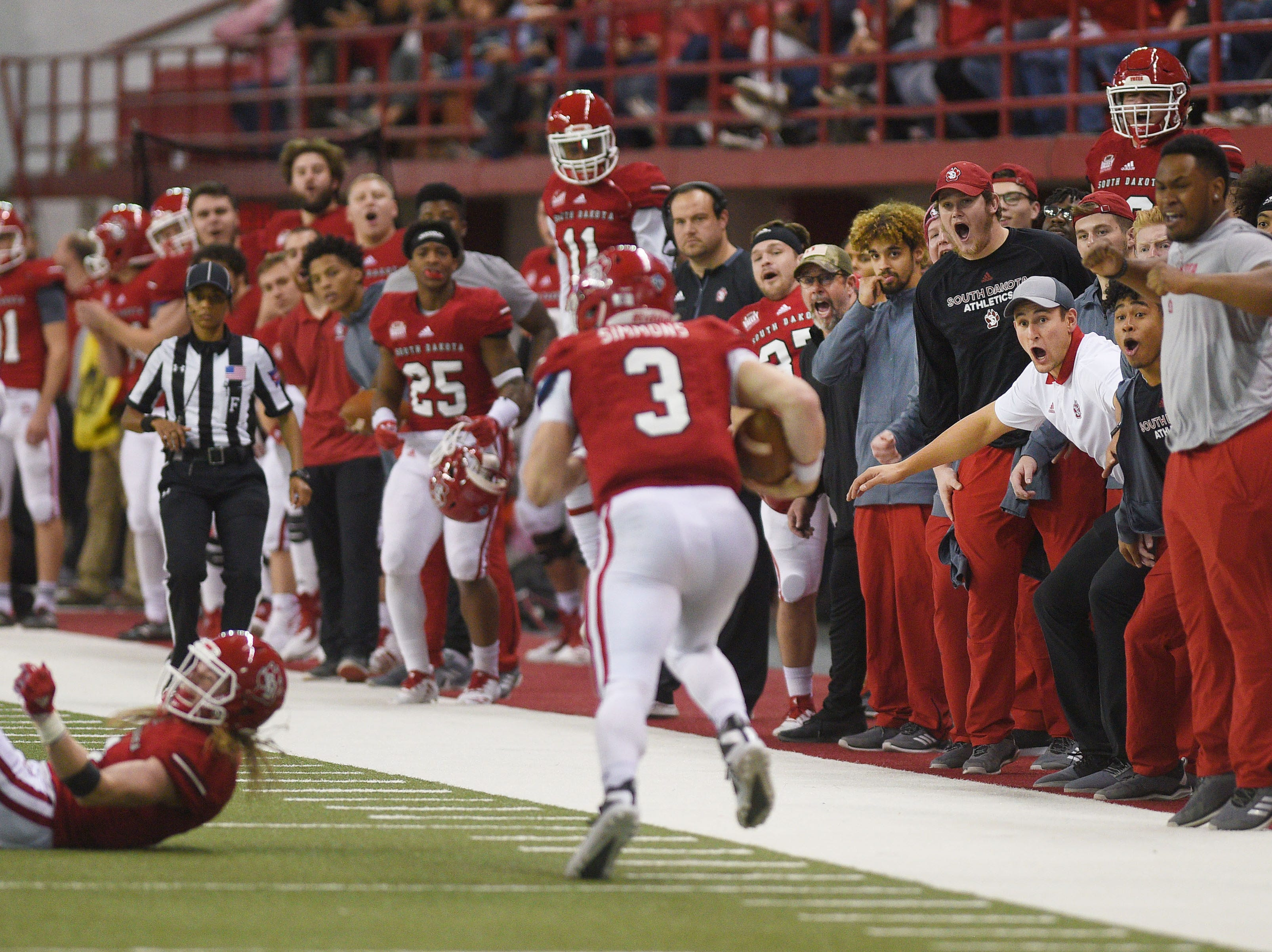 USD's sideline reacts to Austin Simmons staying inbounds during the game against Western Illinois Saturday, Nov. 10, at the DakotaDome in Vermillion.