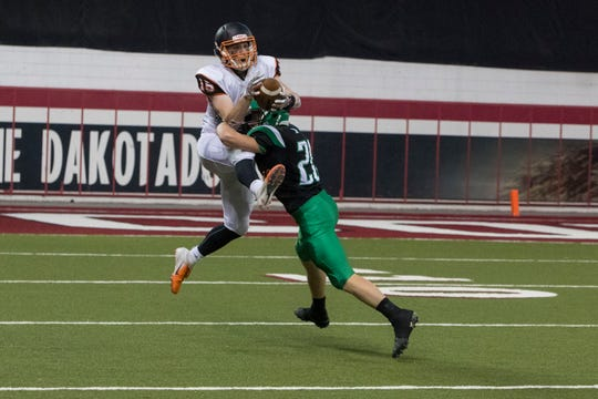 Huron's Cooper Fryberger (15) catches the ball during a game against Pierre, Friday, Nov. 9, 2018 at the DakotaDome in Vermillion, S.D.
