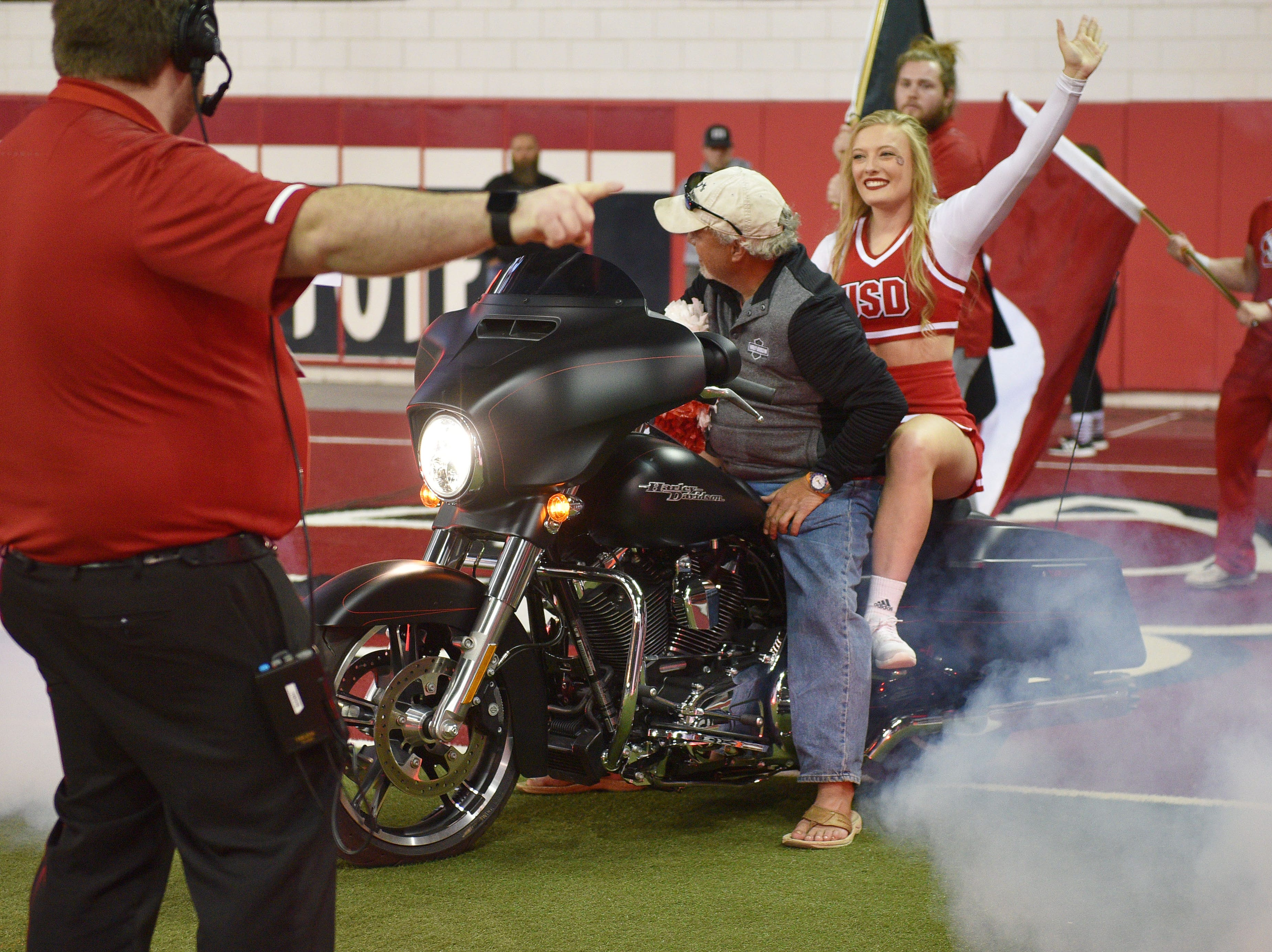 USD prepares to take the field for the game against Western Illinois Saturday, Nov. 10, at the DakotaDome in Vermillion.