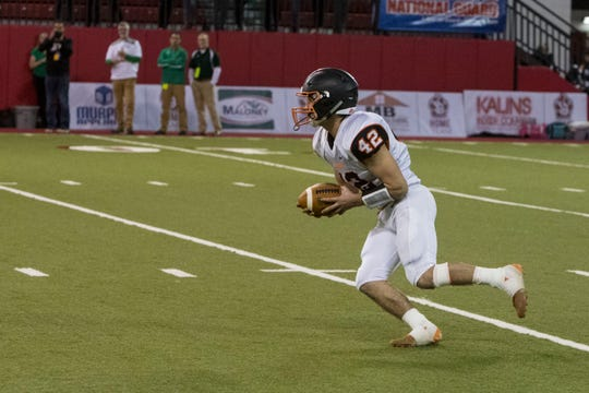 Huron's Chipper Shillingstad (42) runs the ball during a game against Pierre, Friday, Nov. 9, 2018 at the DakotaDome in Vermillion, S.D.