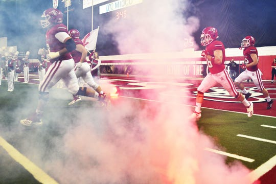 USD takes the field for the game against Western Illinois Saturday, Nov. 10, at the DakotaDome in Vermillion.