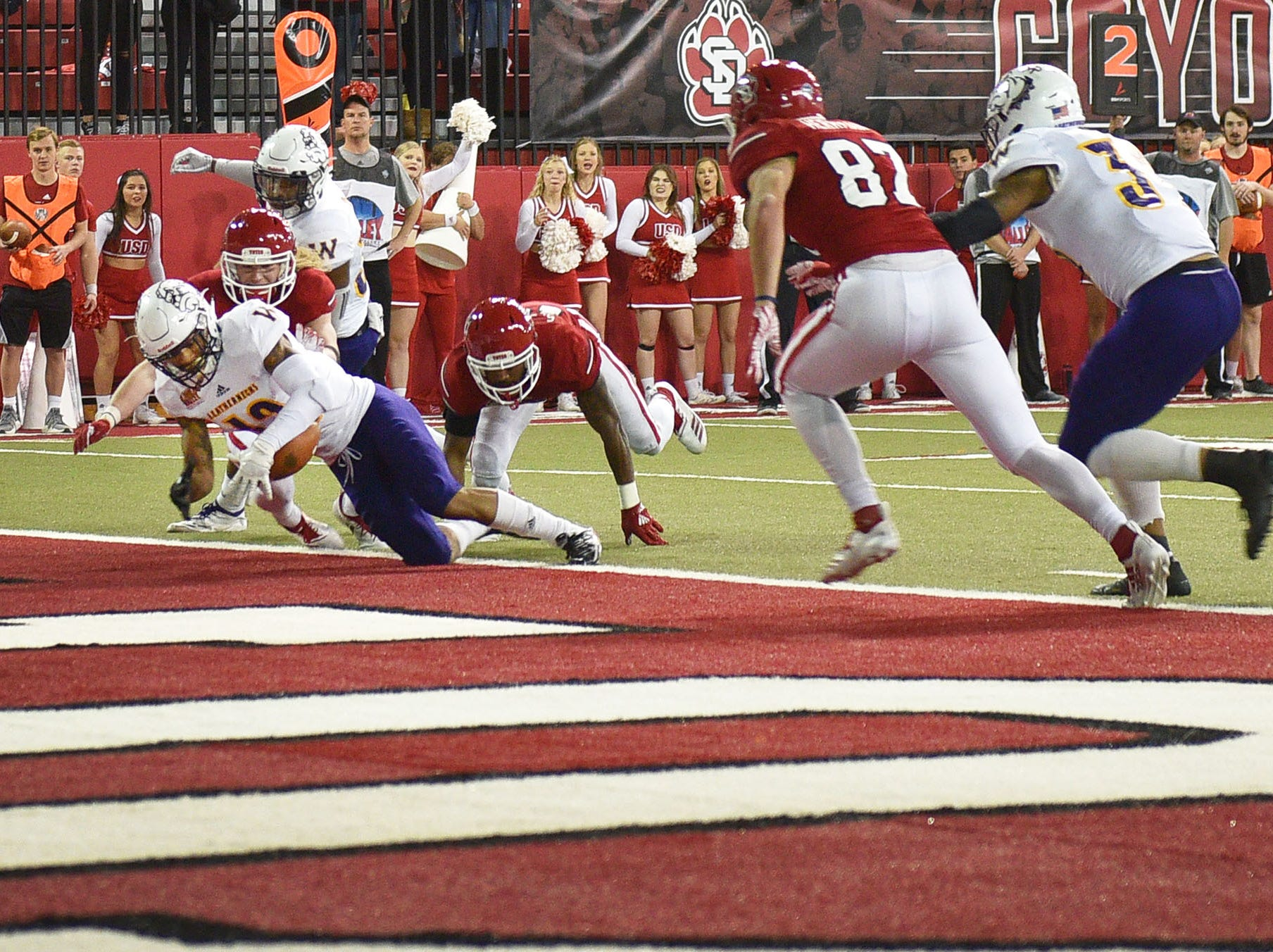 Western Illinois' Darron Wheeler recovers the ball in the end zone during the game against USD Saturday, Nov. 10, at the DakotaDome in Vermillion.