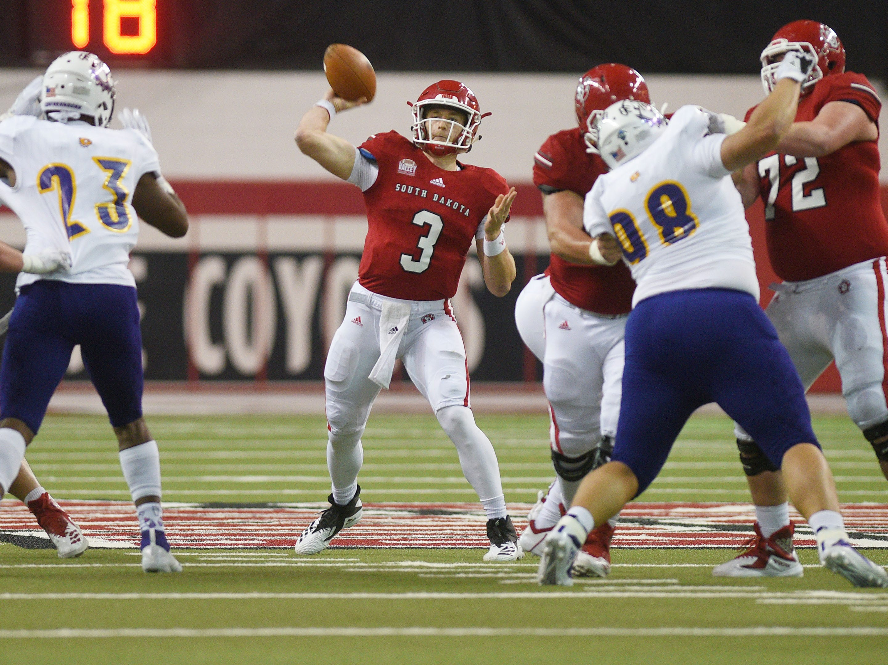 USD's Austin Simmons during the game against Western Illinois Saturday, Nov. 10, at the DakotaDome in Vermillion.