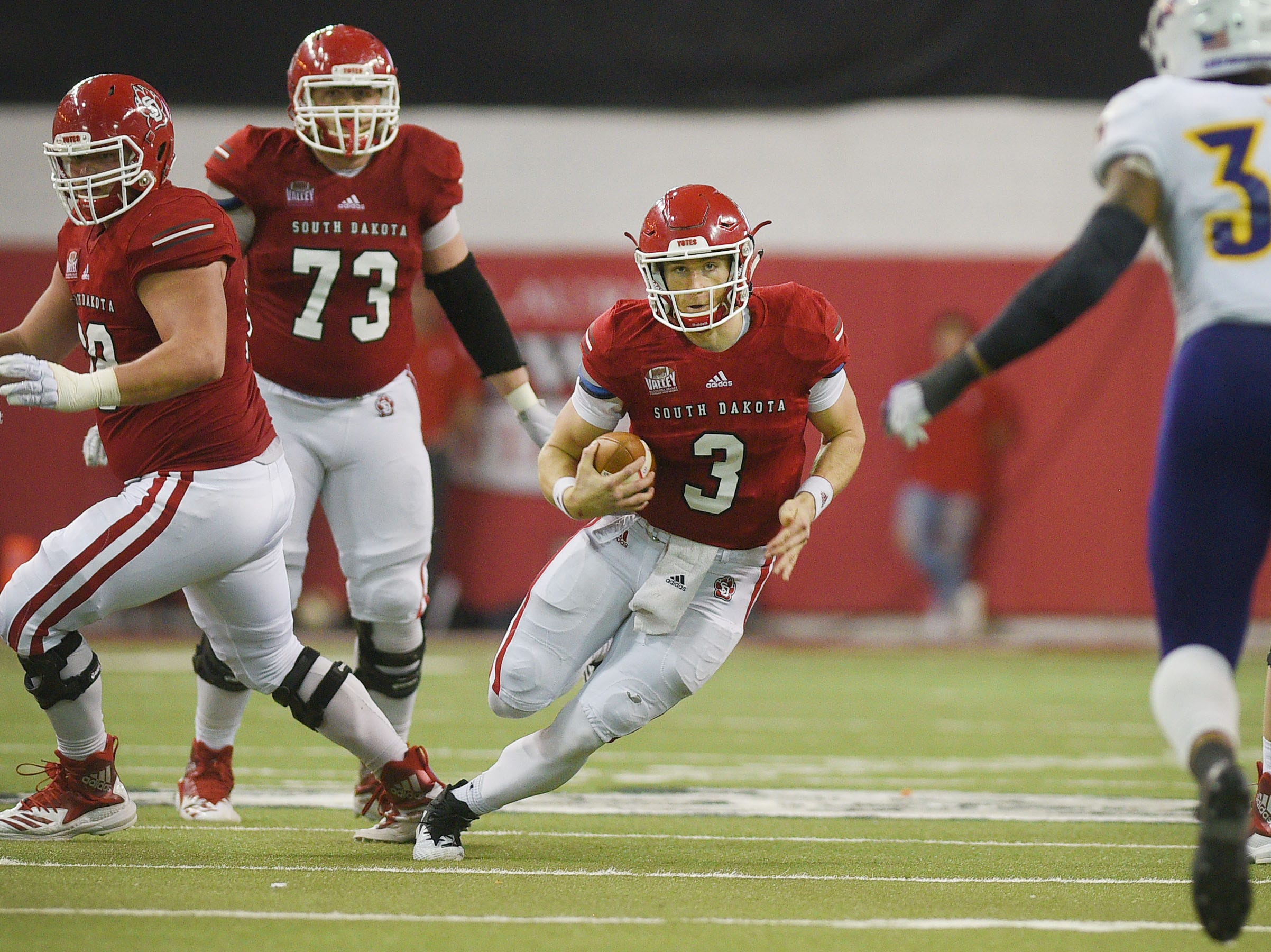 USD's Austin Simmons runs the ball during the game against Western Illinois Saturday, Nov. 10, at the DakotaDome in Vermillion.