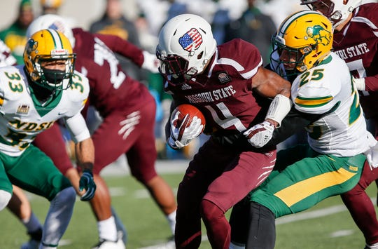 Missouri State University's Matts Rush runs the ball in the Bear's last home game of the season against North Dakota State at Plaster Stadium on Saturday, Nov. 10, 2018.
