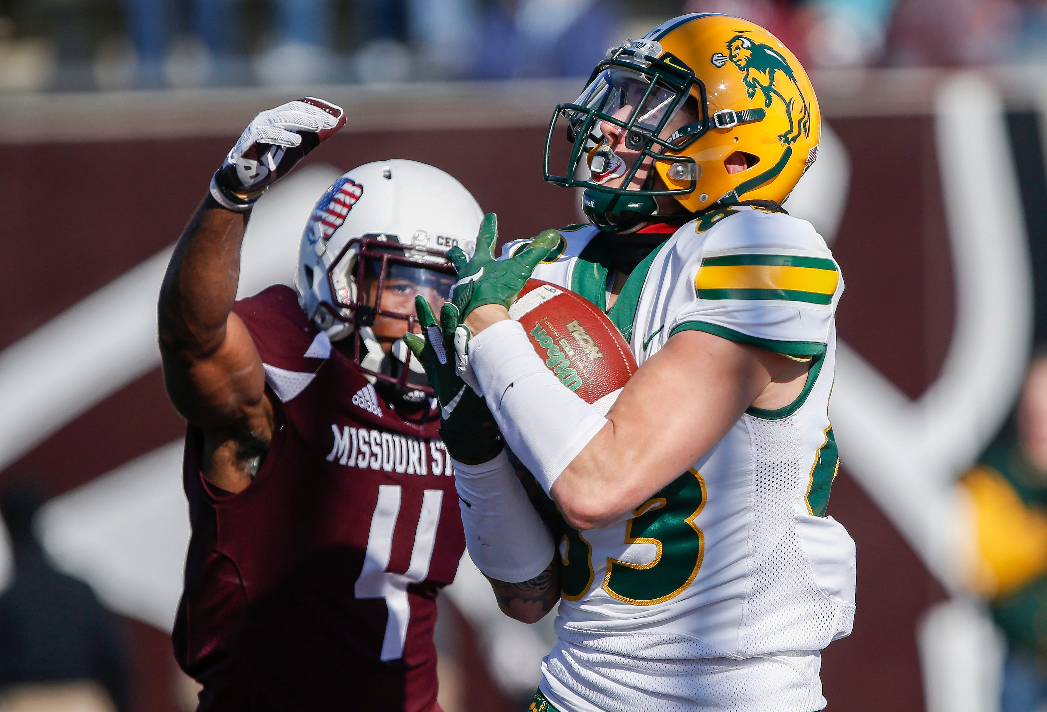North Dakota State receiver Dallas Freeman brings in the catch for a touchdown during the Bison's game against Missouri State University at Plaster Stadium on Saturday, Nov. 10, 2018.