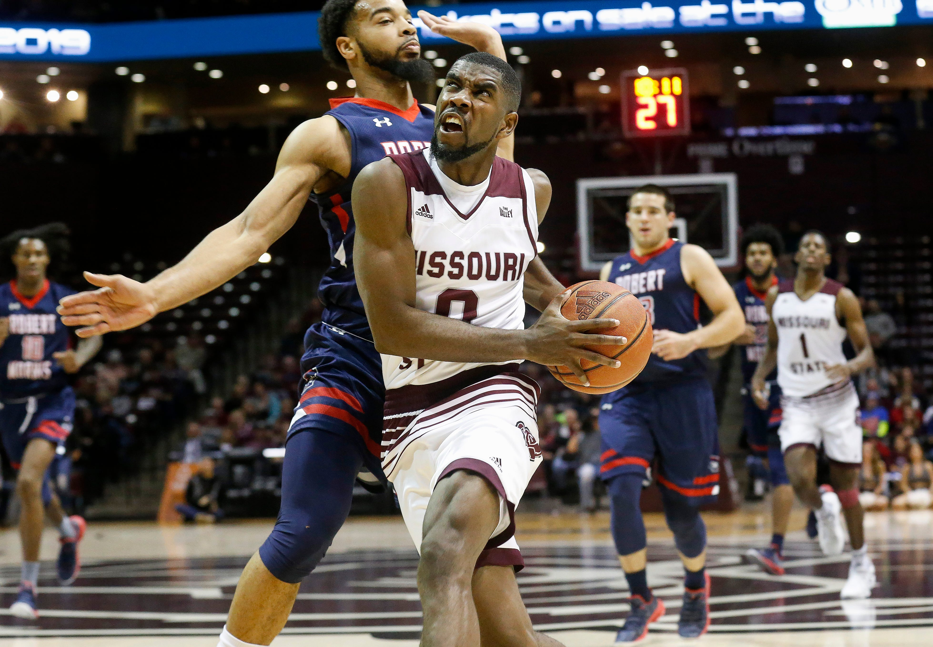 Josh Webster, of Missouri State University, drives to the net during the Bears game against Robert Morris at JQH Arena on Friday, Nov. 9, 2018.