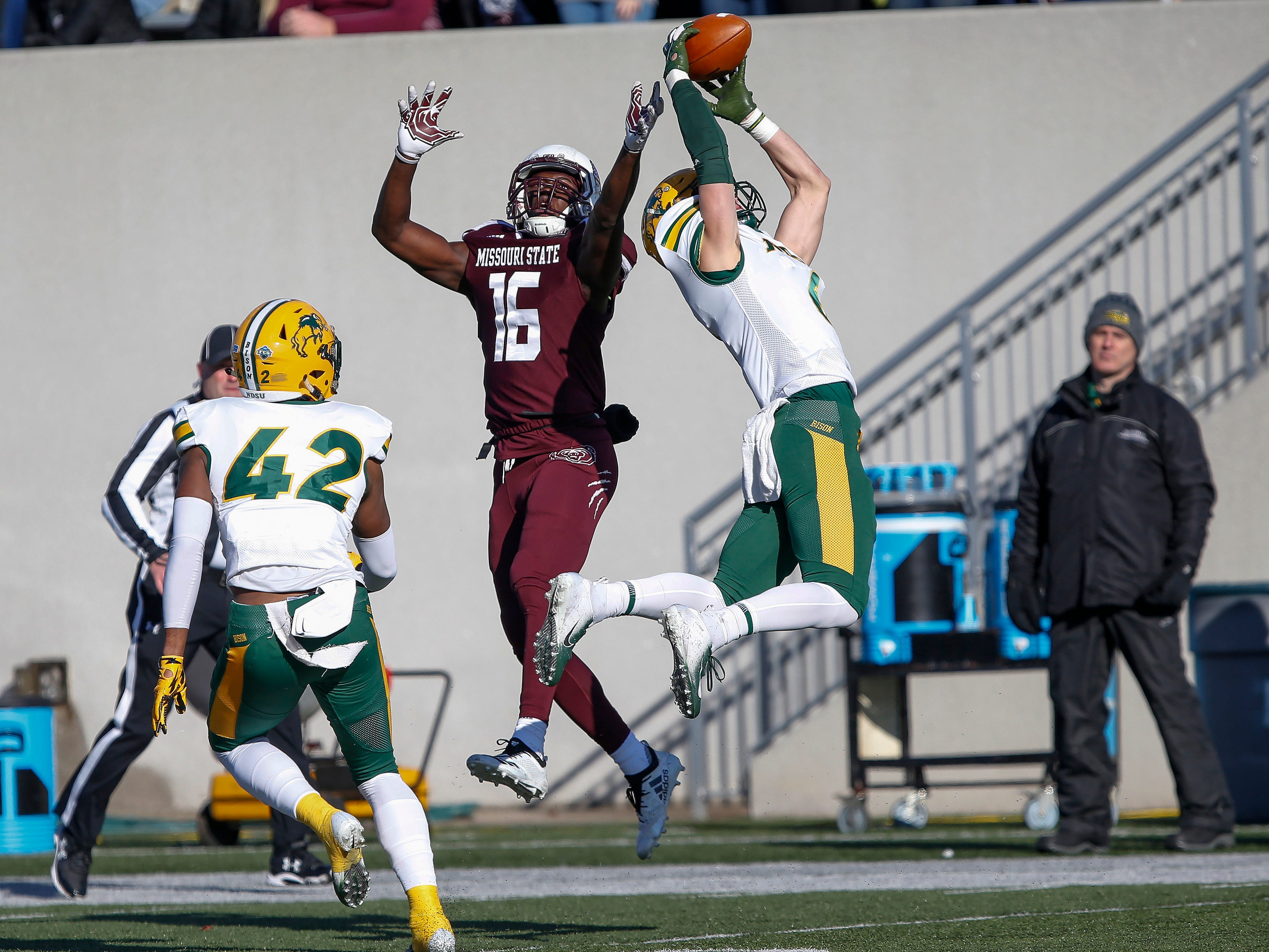North Dakota State's James Hendricks intercepts a pass intended for Damoriea Vick during the Bison's game against Missouri State University at Plaster Stadium on Saturday, Nov. 10, 2018.