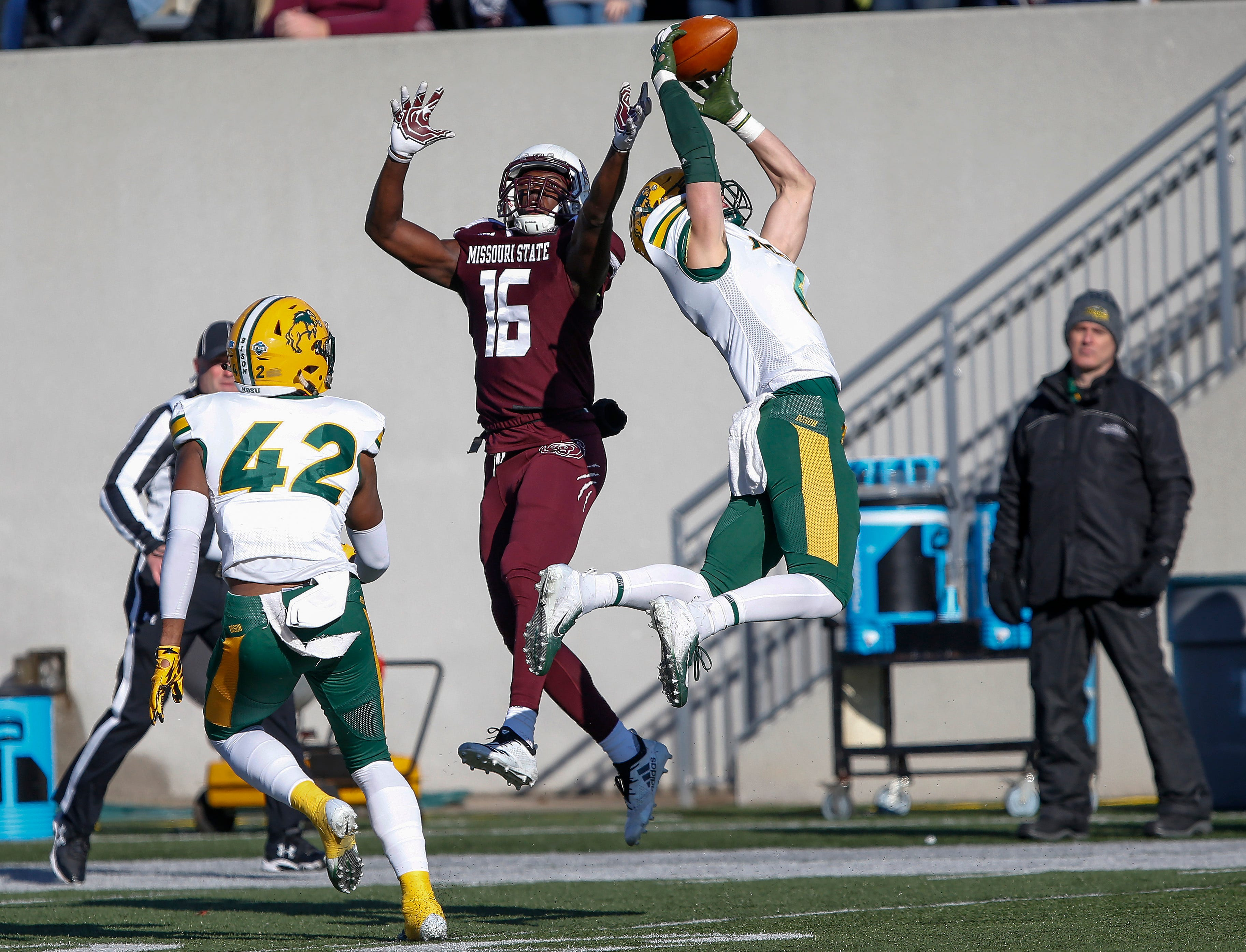 North Dakota State's James Hendricks intercepts a pass intended for Damoriea Vick during the Bison's game against Missouri State University at Plaster Stadium on Saturday, Nov. 10, 2018.