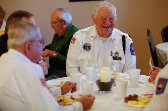 Chuck Peeters, a member of the Veterans Memorial Team, enjoys breakfast at Walnut Lawn Funeral Home on Nov. 10, 2018.