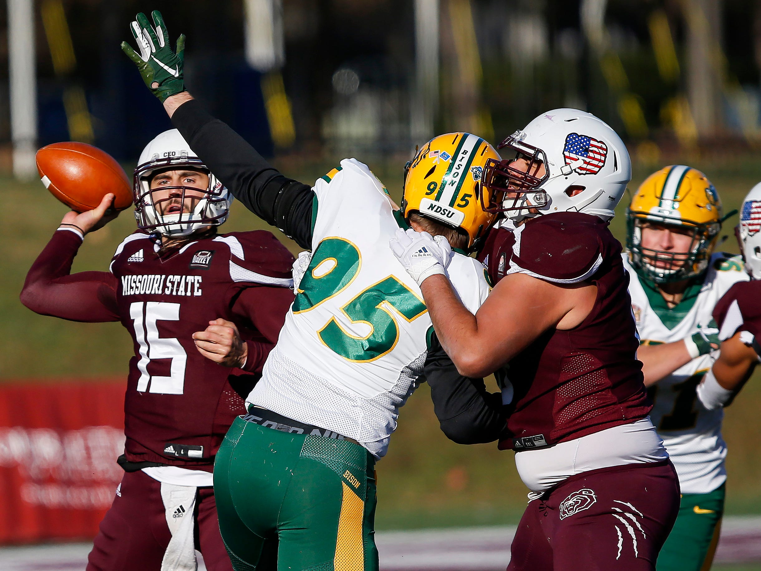 Missouri State University's Peyton Huslig passes the ball in the Bear's last home game of the season against North Dakota State at Plaster Stadium on Saturday, Nov. 10, 2018.